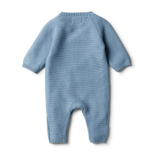 WF faded denim growsuit back